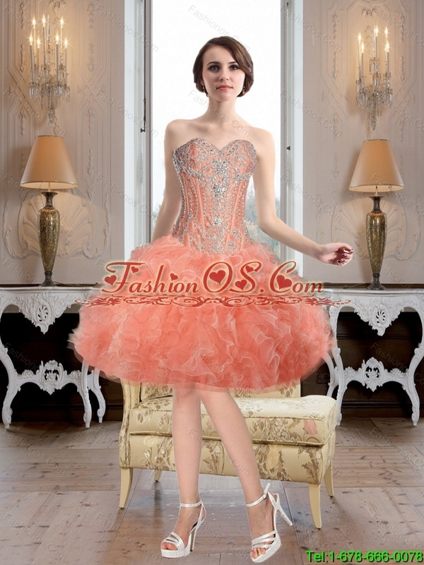 Exquisite Sweetheart Watermelon 2016 Detachable Prom Dresses with Beading and Ruffles