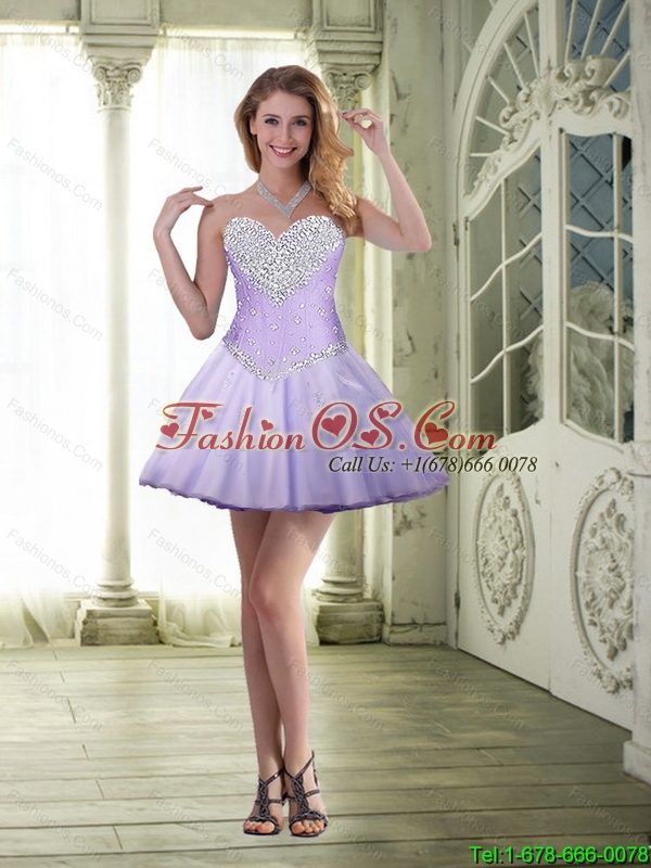 Feminine Short Sweetheart and Beaded Detachable Prom Dresses in Lavender 129.25