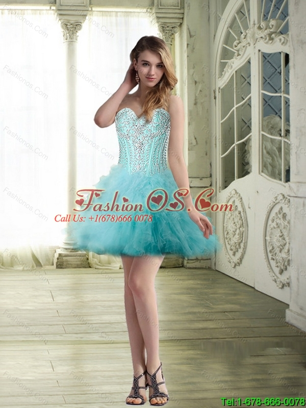 Luxurious Beaded Sweetheart Detachable Prom Dress with Ruffles for Cocktail