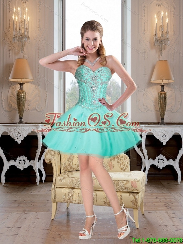 Modern 2016 A Line Tulle Mini Length Detachable Prom Dress with Beading