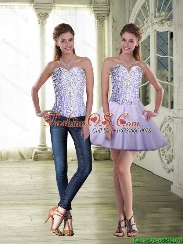 Perfect Sweetheart Lace Up Detachable Prom Dresses in Lavender for Cocktail