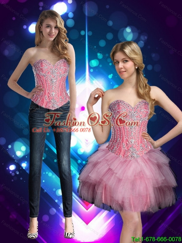Short Sweetheart Discount Detachable Prom Dresses with Beading for Cocktail