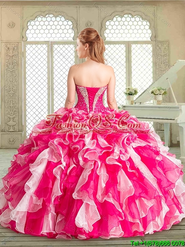 2016 Pretty Sweetheart Quinceanera Dresses with Beading and Ruffles