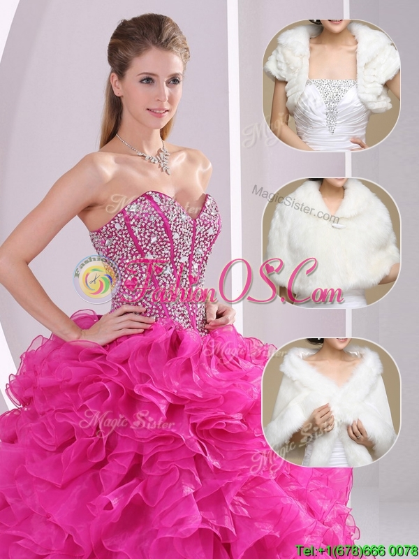 2016 Popular Ruffles and Beading Quinceanera Gowns in Fuchsia
