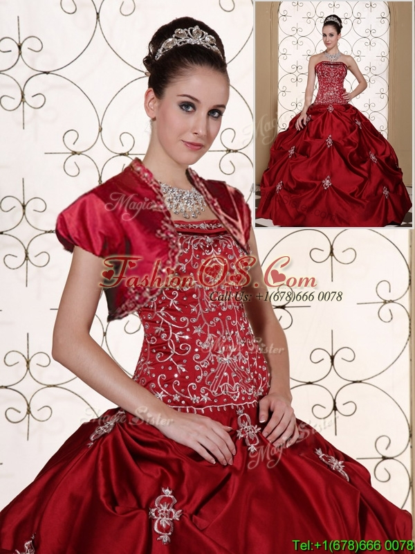Clearance Pick Ups Strapless Quinceanera Gowns in Wine Red
