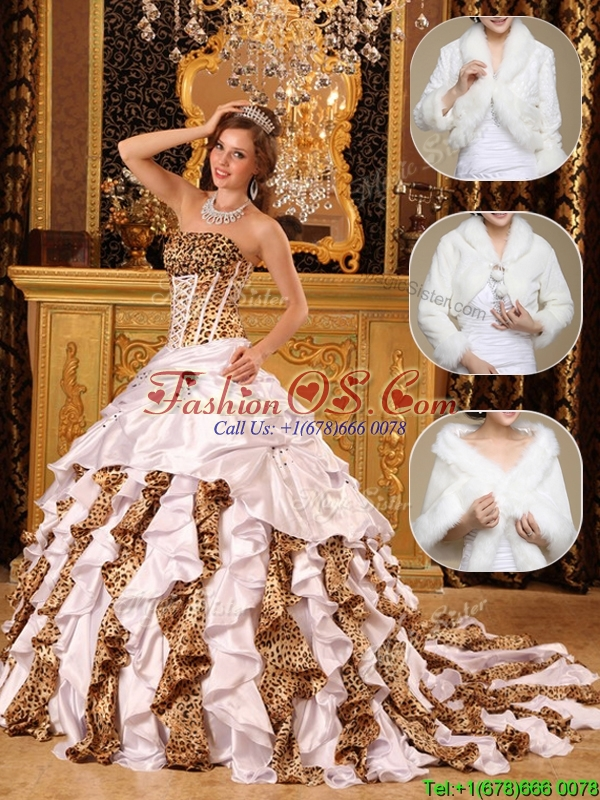 Cute White Quinceanera Gowns with Beading and Ruffles