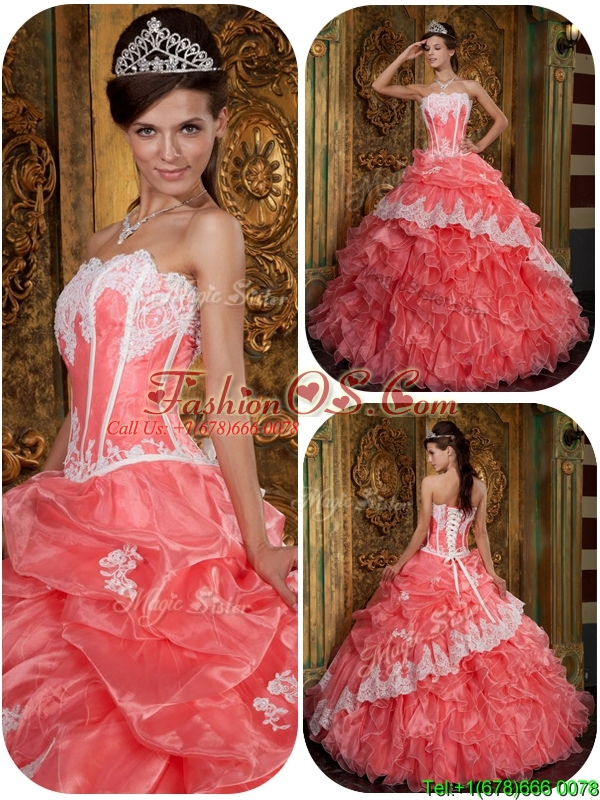 Exclusive Waltermelon Quinceanera Gowns with Appliques and Ruffles