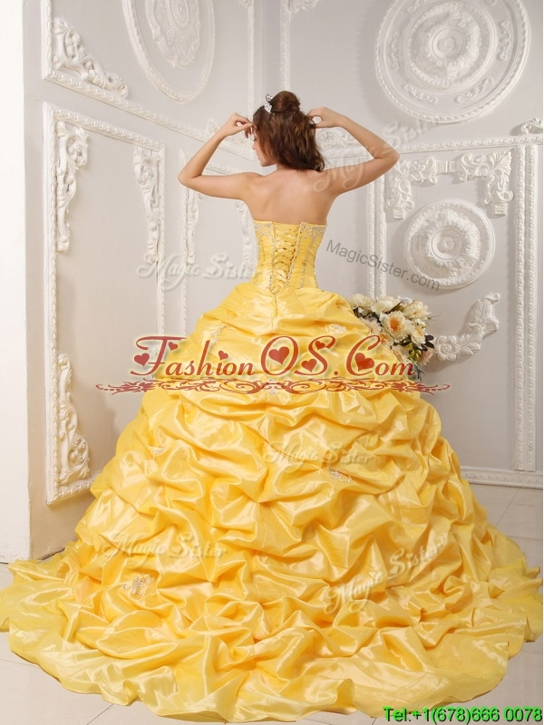 Perfect Pick Ups and Appliques Quinceanera Gowns with Court Train