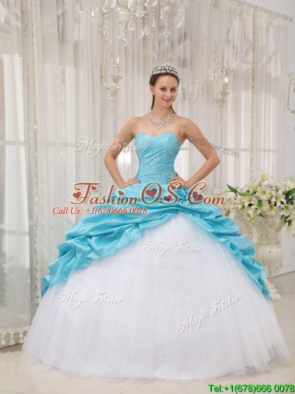 Lovely Ball Gown Sweetheart Quinceanera Dresses in Aqua Blue
