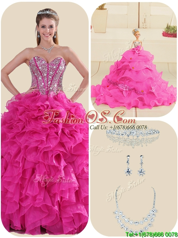 New Arrival Fuchsia Quinceanera Gowns with Ruffles and Beading
