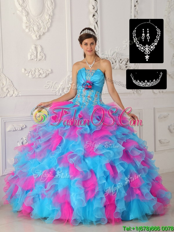New Arrival Multi Color Ball Gown Quinceanera Dresses with Appliques