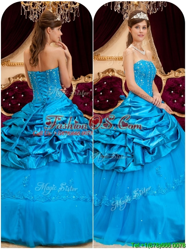New Arrival Strapless Quinceanera Gowns with Appliques and Beading