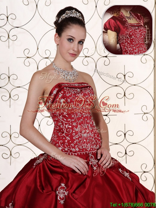 New Arrival Strapless Quinceanera Gowns with Embroidery and Pick Ups