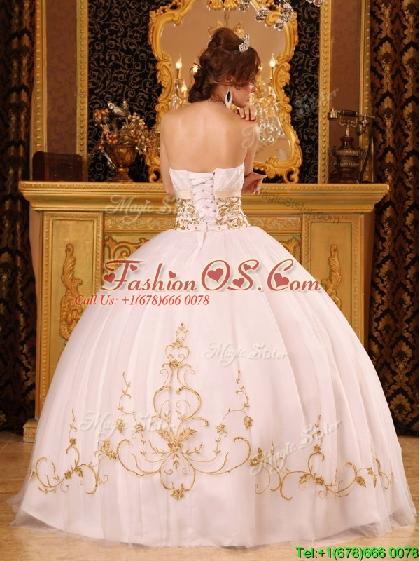 New Arrivals Appliques Quinceanera Gowns in White for 2016