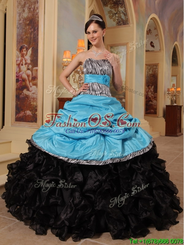 New Arrivals Strapless Quinceanera Gowns with Ruffles and Pick Ups