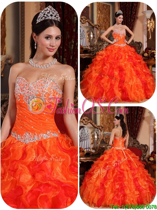 Perfect Appliques and Beading Orange Quinceanera Gowns