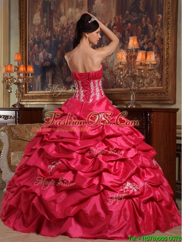 Cheap Coral Red Strapless Quinceanera Gowns with Appliques