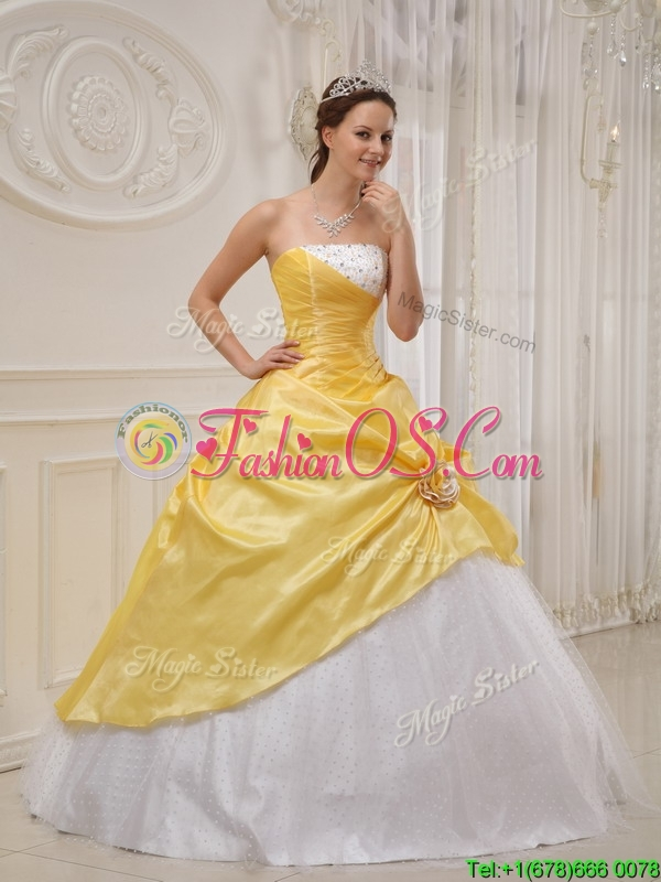Modest Ball Gown Strapless Quinceanera Dresses in Yellow