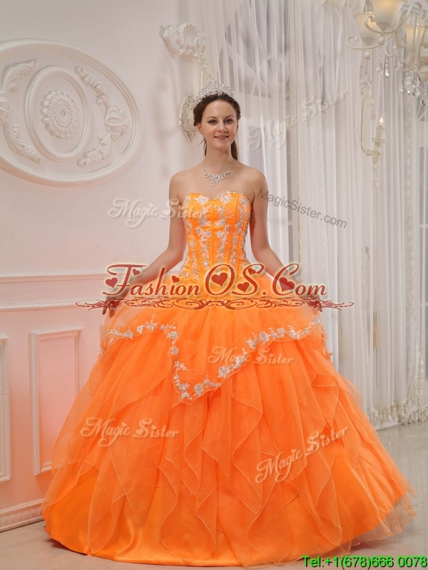 Perfect  Appliques and Beading Sweet 15 Dresses in Orange