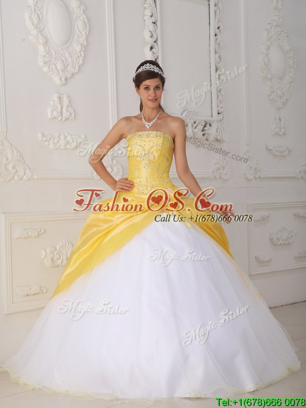 Perfect Appliques Quinceanera Gowns with Hand Made Flower
