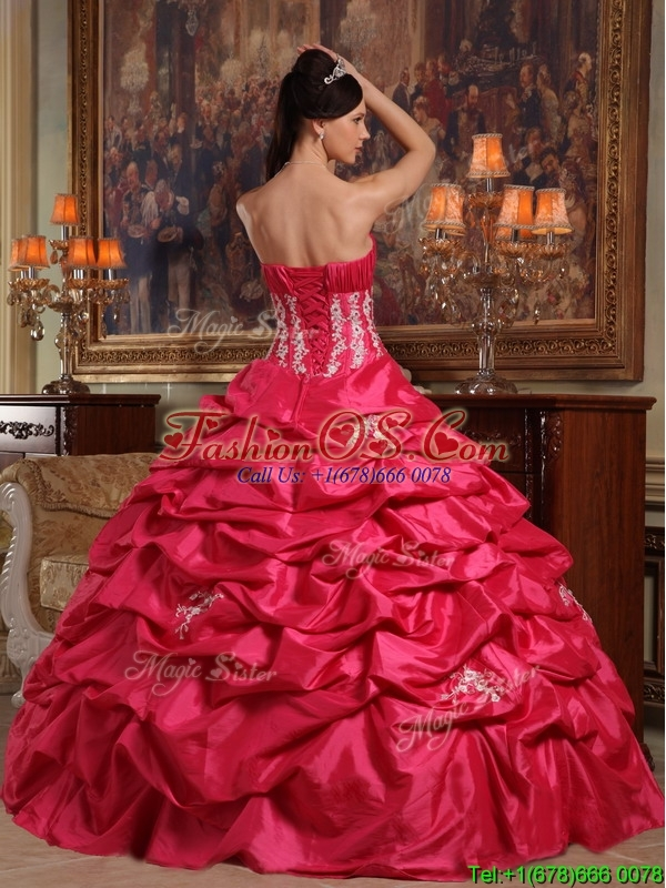 Perfect Strapless Appliques Quinceanera Gowns in Coral Red