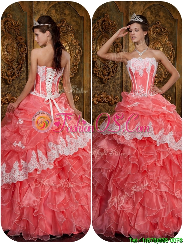 Pretty Appliques Waltermelon Strapless Quinceanera Dresses