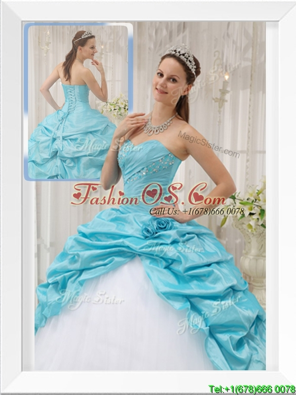 Pretty Beading Sweetheart Quinceanera Gowns in Aqua Blue
