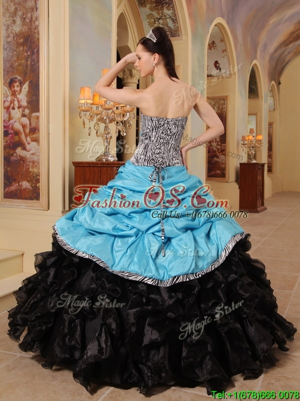 Pretty Blue and Black Ball Gown Strapless Quinceanera Dresses