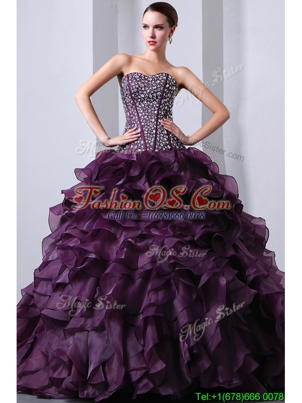 Pretty Brush Train Sweet 16 Dresses with Beading and Ruffles
