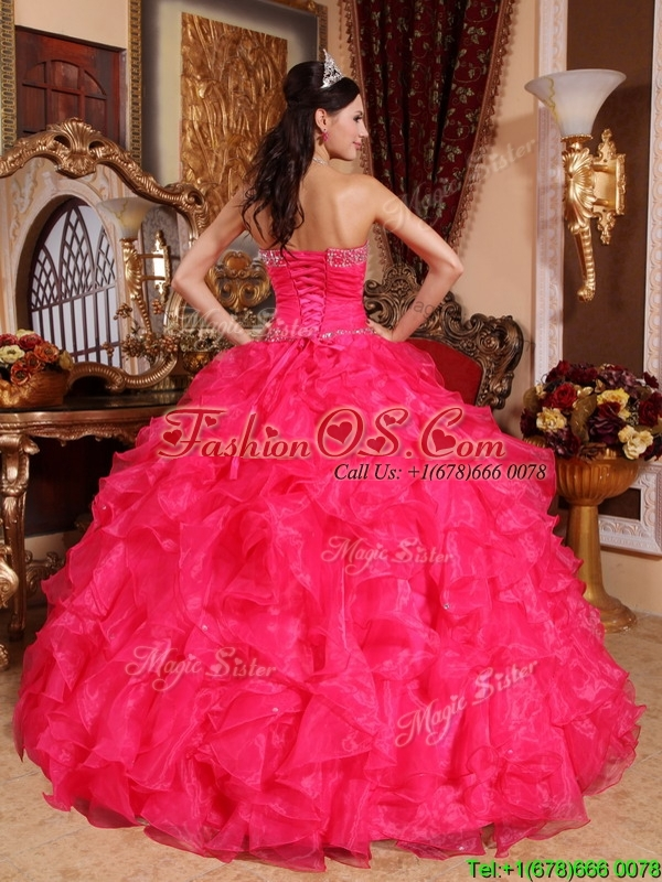 Pretty Coral Red Ball Gown Floor Length Quinceanera Dresses