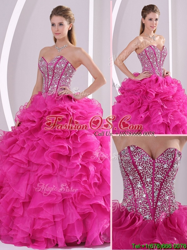 Pretty Hot Pink Ball Gown Sweetheart Quinceanera Dresses