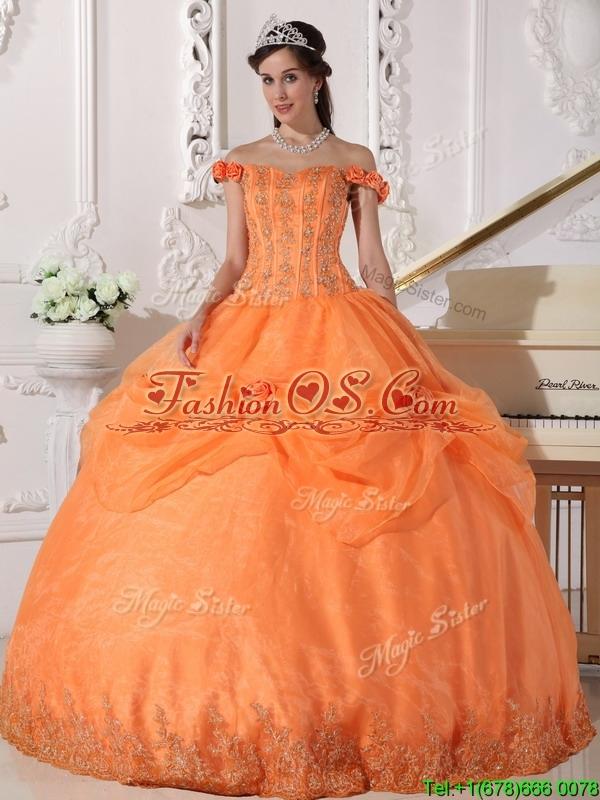 Pretty Off The Shoulder Quinceanera Dresses in Orange