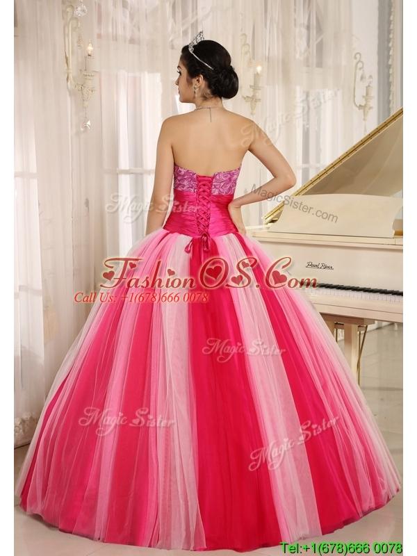 Perfect  Hot Sale Multi Color Strapless Lace Up Quincanera Dresses