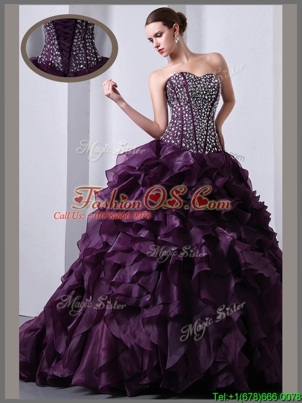 Clearance  A Line Brush Train Beading and Ruffles Quinceanea Dresses