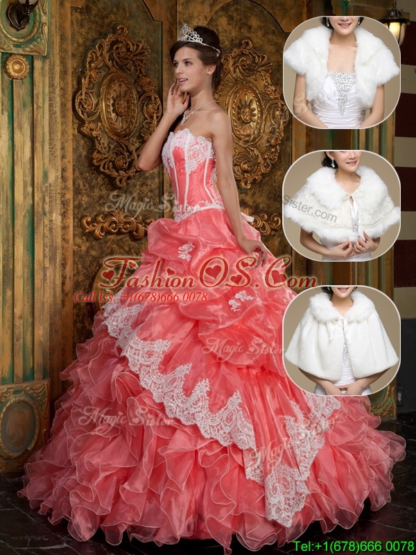 Clearance Appliques and Ruffles Quinceanera Dresses  in Waltermelon