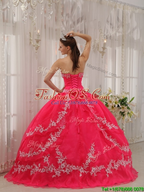 Clearance Coral Red Quinceanera Dresses  with Applique