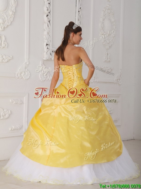 Clearance Quinceanera Dresses in Yellow and White