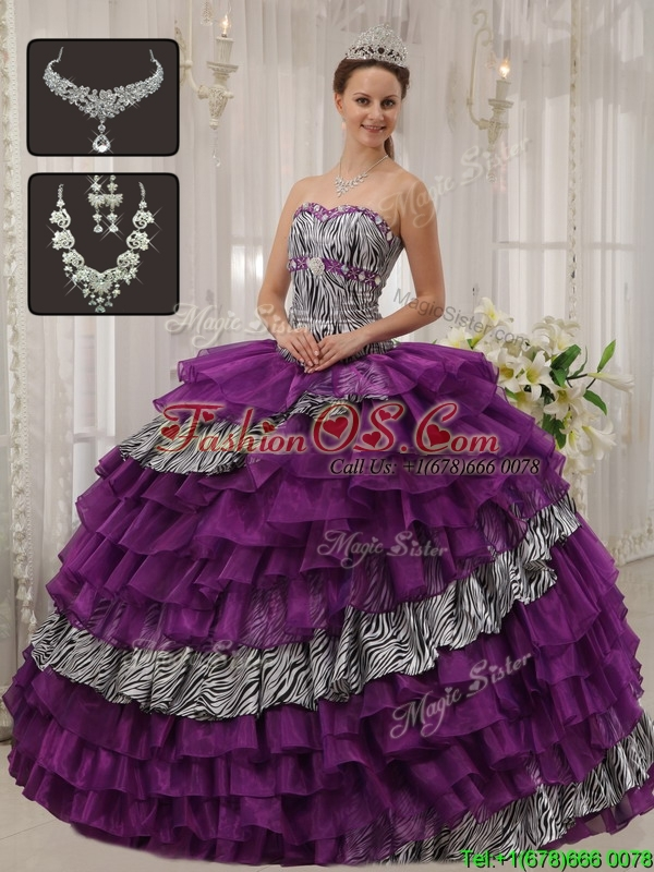 Discount Purple Sweetheart Quinceanera Dresses with Beading