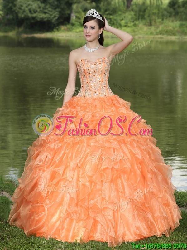 Discount Orange Quinceanera Dresses with Beading and Ruffles Layered