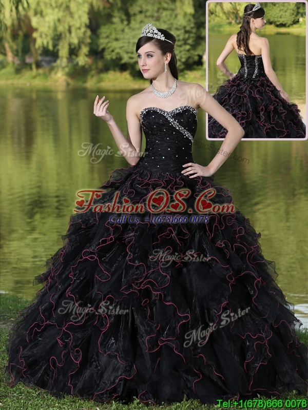 Discount Ruffles Layered and Beading Quinceanera Dresses in Black