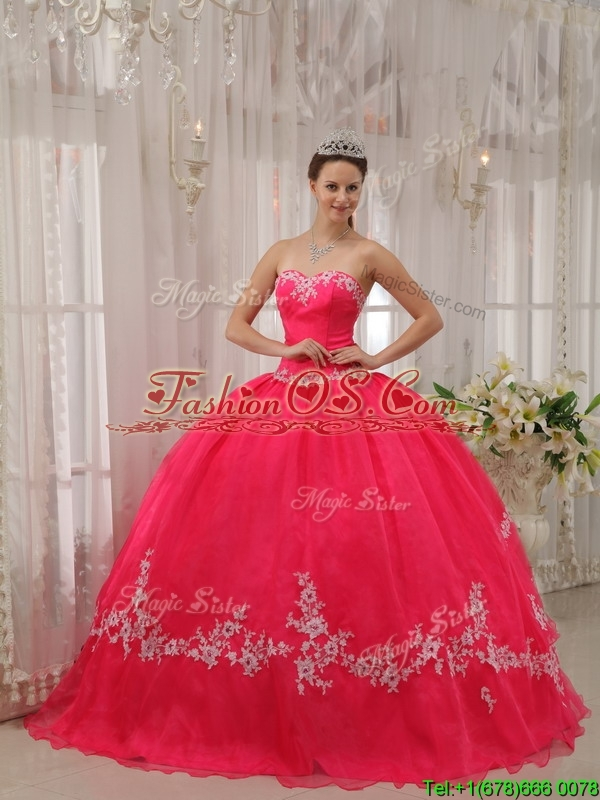 Discount  Sweetheart Appliques Quinceanera Dresses  in Coral Red