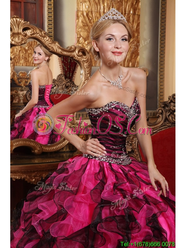 Popular Ball Gown Sweetheart Beading and Ruffles Quinceanera Dresses