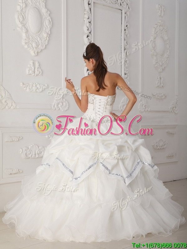 Popular Ball Gown Sweetheart Quinceanera Dresses in White