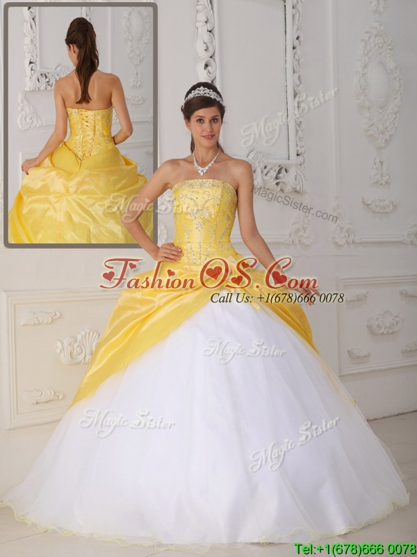 Puffy  Ball Gown Appliques and Hand Made Flower Quinceanera Dresses