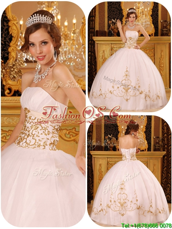 Puffy  White Strapless Quinceanera Dresses with Appliques