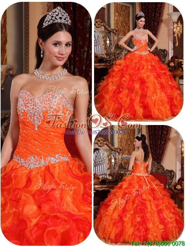 Latest Appliques and Beading Sweet 16 Dresses  in Orange