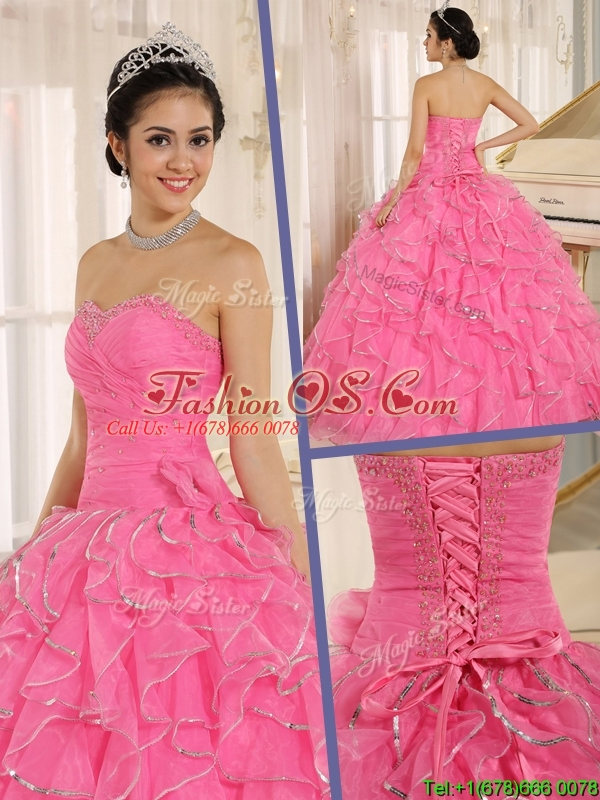 Latest Ruffles and Beading Rose Pink Sweet 16 Dresses