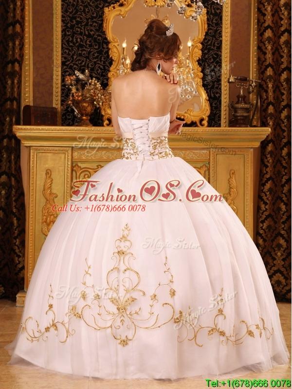 New Style White Ball Gown Strapless Floor Length Sweet 16 Dresses