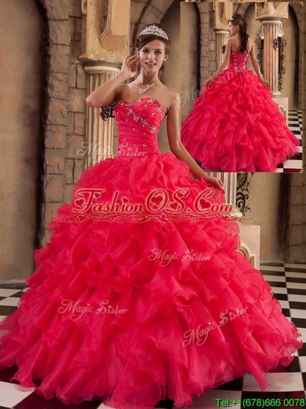 Popular Coral Red Sweetheart Sweet 16 Dresses  with Beading
