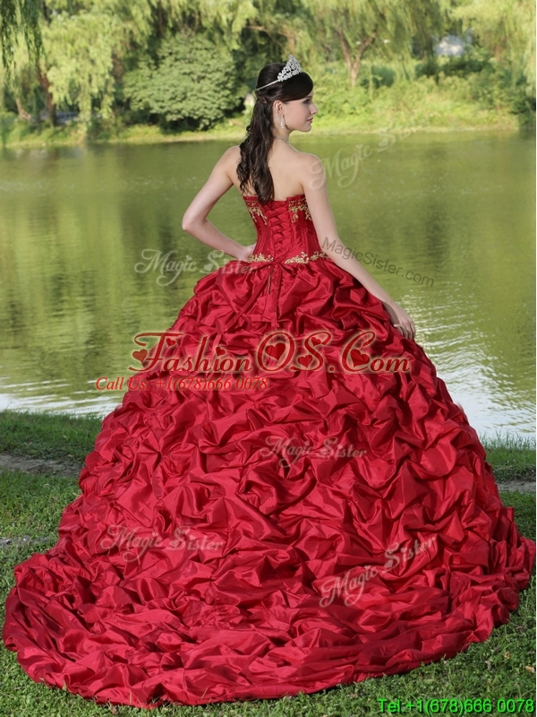 Puffy Brush Train Quinceanera Dresses  with Appliques and Pick Ups